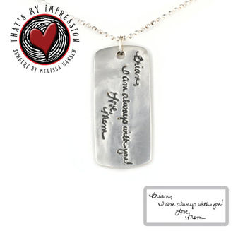 Handwriting Jewelry- Personalized Silver Dog Tag Pendant Necklace with Engraved Handwriten Message and Fingerprint