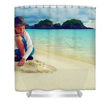 Summer Has Began, Watercolor Art By Adam Asar - Asar Studios - Shower Curtain