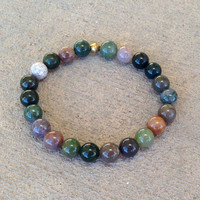 Protection, genuine fancy jasper mala bracelet