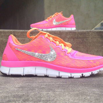 Nike Free Run 5.0 Running Training Jogging Shoes Customized Swarovski ElementsCrystal Rhinestones New In Box Pink Orange Zebra Print Stripes