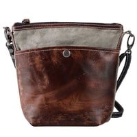 MapleClan Vintage Cow Leather with Canvas Cross Body Bag