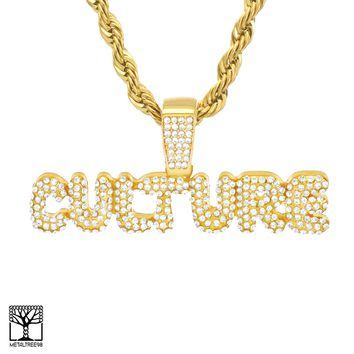 Jewelry Kay style Men's Iced Bubble CULTURE Sign Gold Plated CZ Pendant Chain Necklace HC 3502 G