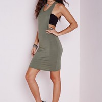 Missguided - Jersey Twist Back Bodycon Dress Khaki