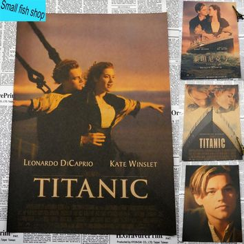 Titanic Leonardo DiCaprio  Retro classic old movies Home Furnishing decoration Kraft Movie Poster Drawing core Wall stickers