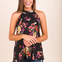 Floral Fixation Top, Black
