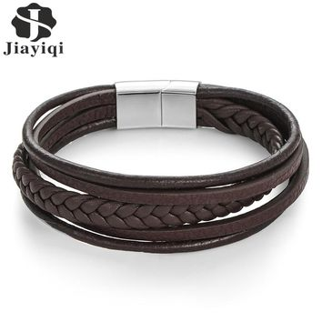 Leather Braided Multi-Layer Men's Bracelet Magnetic-Clasp