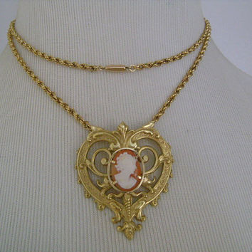 Vintage Krementz Gold Filled Jewelry Lovely Filigree Heart Frame Profile Cameo Lady Pendant Twist Rope Chain Necklace W Barrel Bullet Clasp