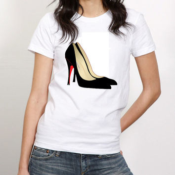Black Pumps with Red Bottoms Tshirt  (14-039)