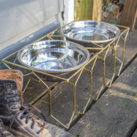 Double Metal Dog Feeder- Large