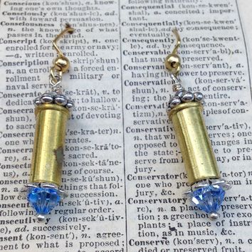 Bullet Earrings with Blue Swarovski Crystals