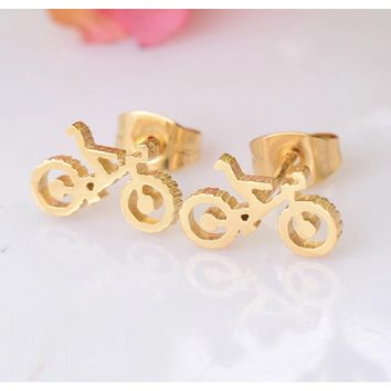 Women/ Girls Bicycle Stainless Steel Stud Earrings