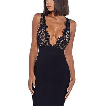 Black Deep V Detailed Lace Backless Bandage Dress