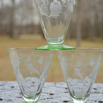 Etched Depression Glass Cordial with Green Foot-Set of 3