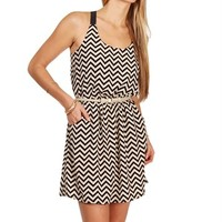 Pre-Order: Taupe/Black Chevron X Back Dress