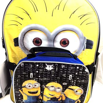 "Despicable Me Minions 3 Backpack 16"" with Lunch Kit/Lunch Bag Prism Printing"