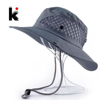 LMF78W Summer Bucket Hat Breathable Mesh Beach Hats Man Wide Brim Sun Gorra Mujer Men's Outdoors Foldable UV Protection Fishings Caps