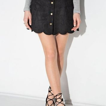 Black Scalloped Suede Skirt