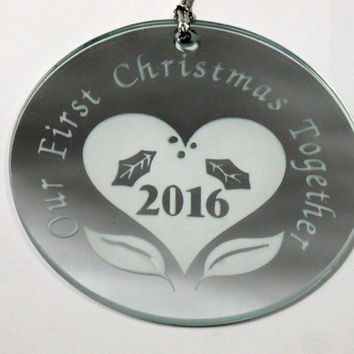 Our First Christmas Together 2016 ornament mirror sun catcher