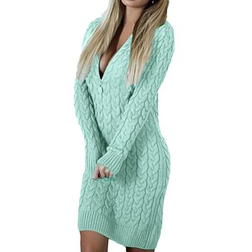 Sexy Women Knitted Zipper V Neck Long Sleeve Sweater Dress Bodycon Mini Dress casual