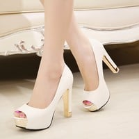 Hot selling women High Heels open peep Toe white gold Weddings shoes women pumps platform sandals big plus size Eur 39-42