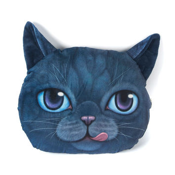 Navy Stick Out Tongue Cat Face Cushion