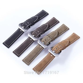 18 20 22 24 mm Waterproof frosted Cowhide leather Watch Band Strap Bracelet With PVD Buckle PAM For Tissots Watchband + Tool