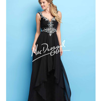 Mac Duggal 40426L Black Open Back Beaded & Ruched Gown 2015 Prom Dresses