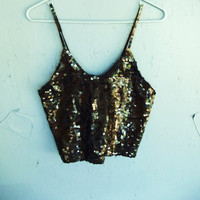 Starry Night Black Sequin Crop Top
