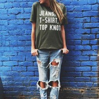 Jeans T-Shirt Top Knot Statement Tee
