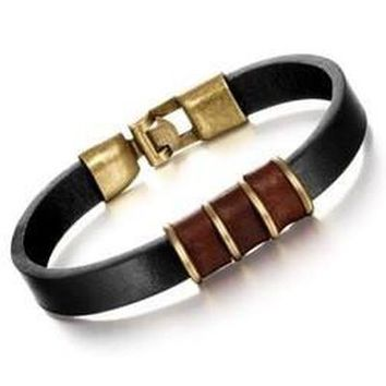 Stylish Circle Faux Leather Bracelet For Men