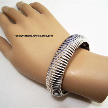 Monet Ridged Ribbed Bracelet Bangle Silver Tone Vintage Hinged Clamper Style Spring Extra Wide Curved Band Shrimp Design Wrist Jewelry