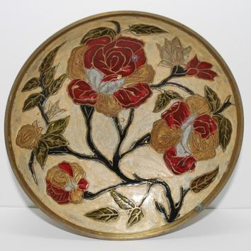 Cloisonne Brass Bowl Rose Bush Decorative Dish Red and Gold Flowers