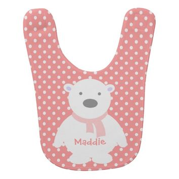Cute Rose/White Polka Dots, Polar Bear, Add name
