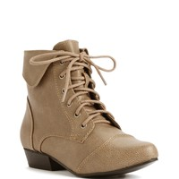 Taupe Lace Up Ankle Booties