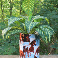 Horses Wrapped Planter or Centerpiece by BFG. Great Gift Idea for Someone Special. Horse Lover or Collector Item and Looks Great Indoor/Out