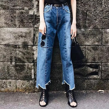 Double Color Rinsed Denim Scales Pants Jeans [11405198735]