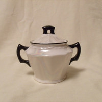 Czech Lusterware Sugar Bowl Pearlescent White and Black