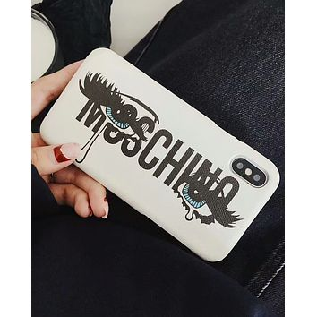 MOSCHINO New White Crying Eyes iPhone7/8Plus Women's Protective Cover F-OF-SJK 1