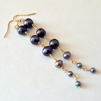 Long Peacock Pearl Earrings, Gold Filled Jewelry, Purple Black Freshwater Pearl, Elegant Earrings, Wire Wrapped, Free Shipping