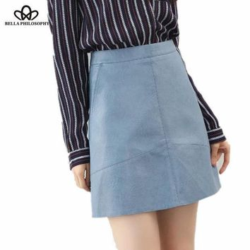 Bella Philosophy 2017 Spring High Waist Pu Faux Leather Women Skirt Pink Yellow Black Green Blue Zipper Real Photo