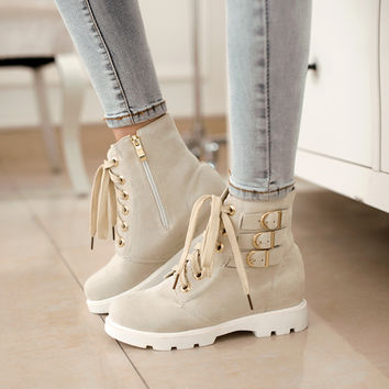 Ankle boots Flats Increased pu Black Red green beige boots