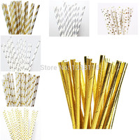 25pcs Eco-friendly Foil Silver/Gold Paper Straws for Wedding Party Kids Birthday Party Decoration Supplies