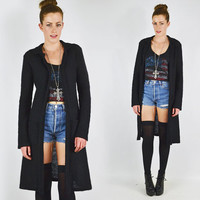 vtg 90s grunge goth club kid black shaggy FUZZY furry MOHAIR long DUSTER cardigan sweater coat jacket S M