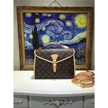 LV Louis Vuitton WOMEN'S MONOGRAM LEATHER HANDBAG SHOULDER BAG