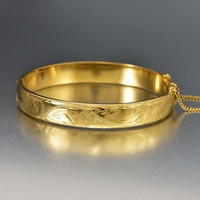 Vintage English Engraved Rolled Gold Bangle Bracelet