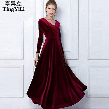 3d15729b7a TingYiLi Winter Women Plus Size Velvet Dress Long Sleeve Maxi Dr
