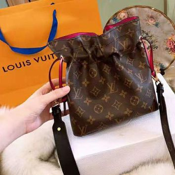 LV Louis Vuitton Newest Fashionable Women Shopping Monogram Leather Shoulder Bag Crossbody Satchel Coffee