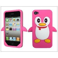 Hot Penguin Soft Silicone Rubber Skin Case cover for Apple iPhone 4s 4 4G Peach