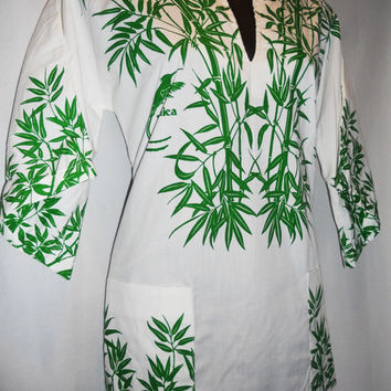 Vintage 80s Shirt Jamaica Bamboo Birds Green Print Lounge Shirt Size Small New Old Stock Gorgeous Unique with Pockets