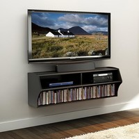 Wall Mounted A/V Console / Entertainment Center in Black